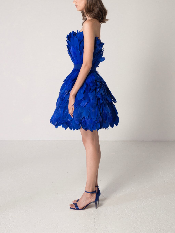 Sleeveless Feathered Mini Dress