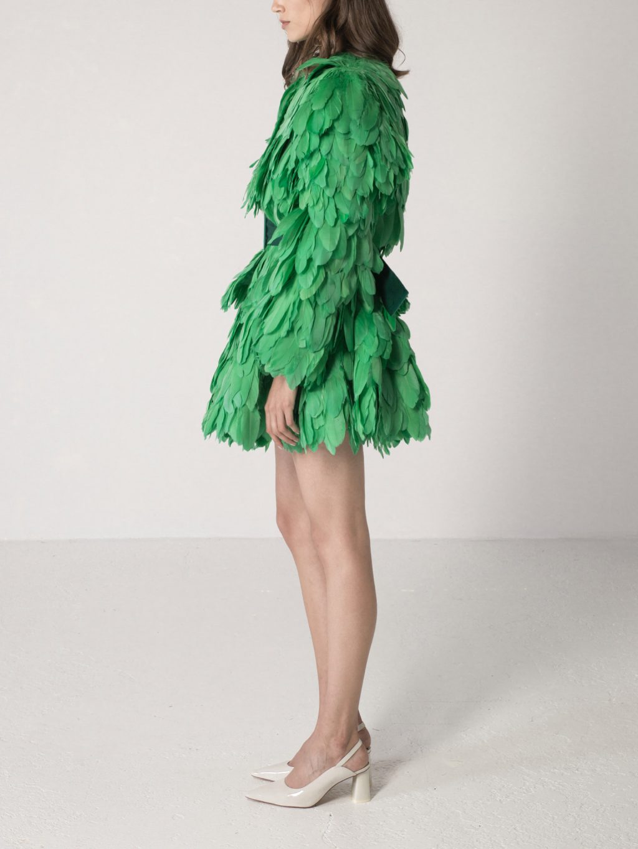 Emerald Feathered Full Circle Mini Skirt