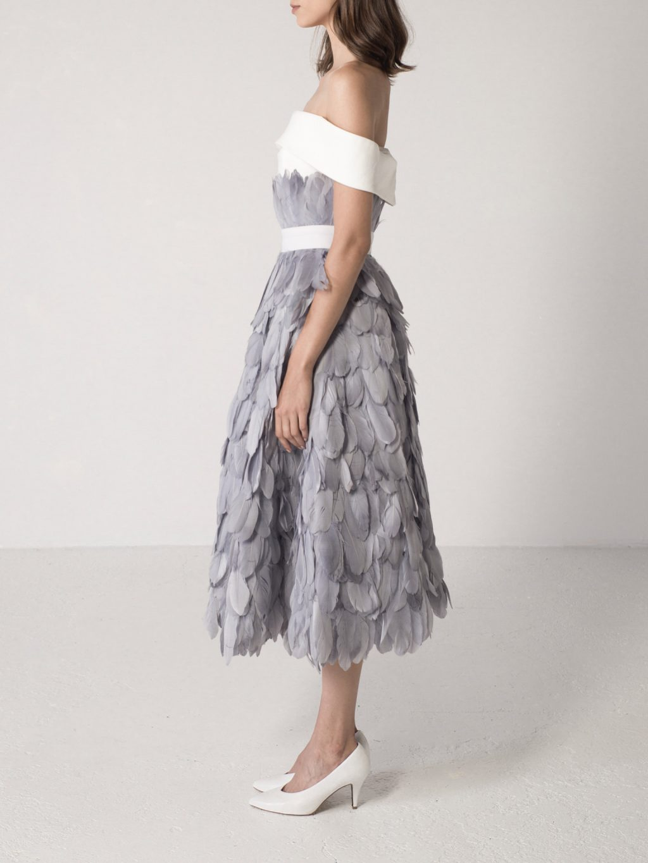 Feathered Full Circle Midi Skirt
