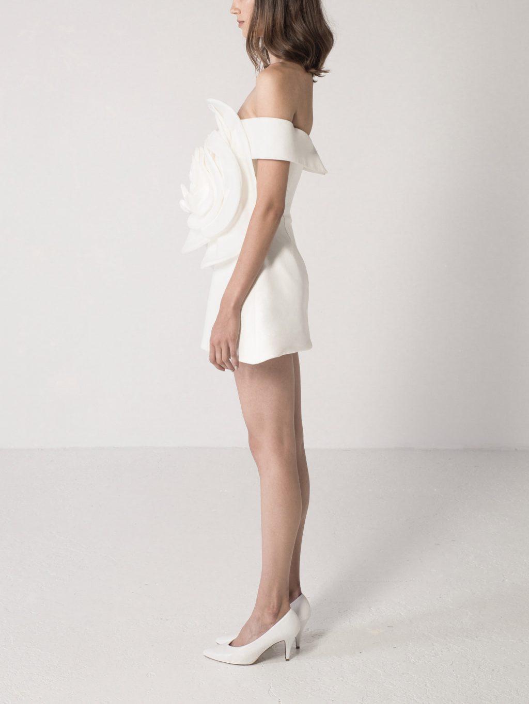 Mini Dress with Flower Detail