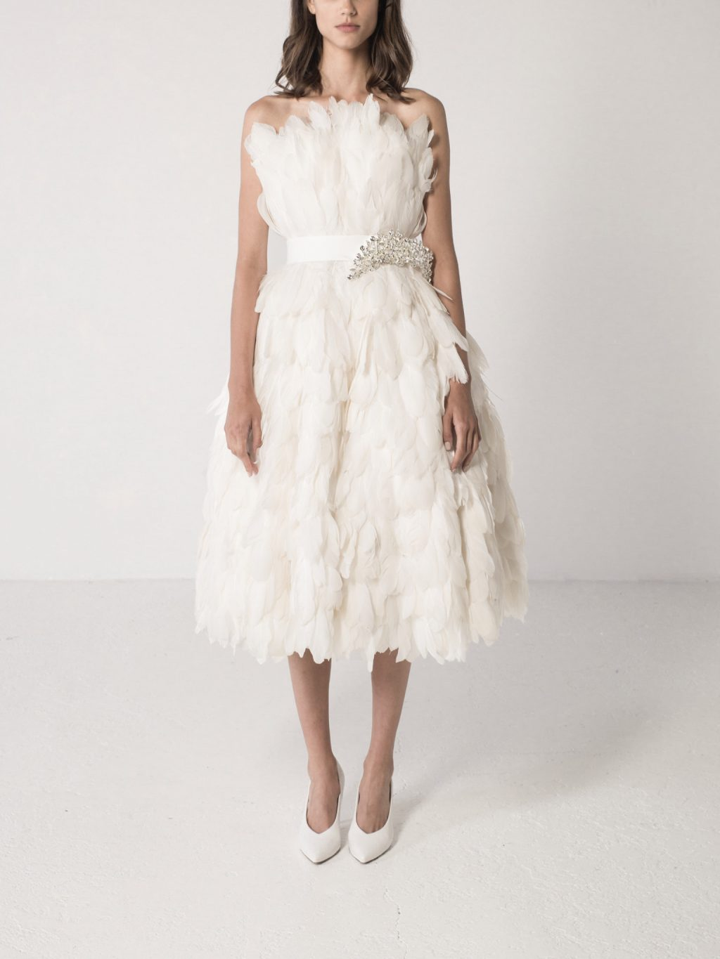 Strapless Feathered Midi Dress
