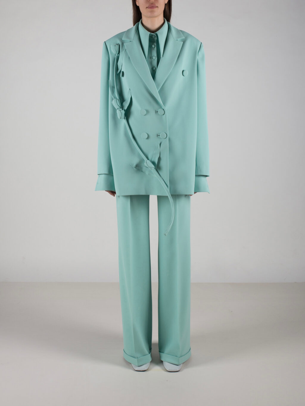 Jacket With Flower Detail In Mint