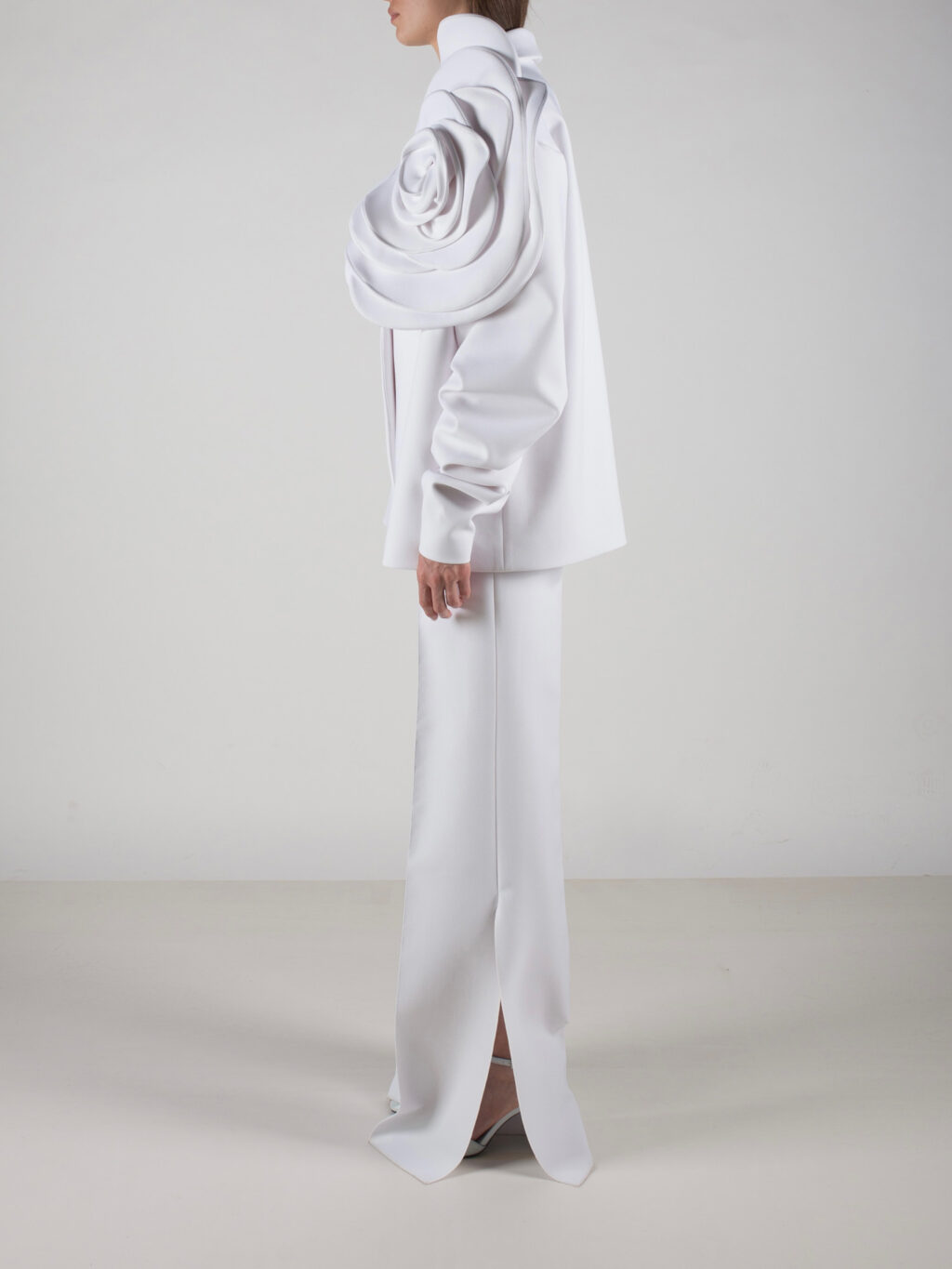 Flared Trousers With Slits In White