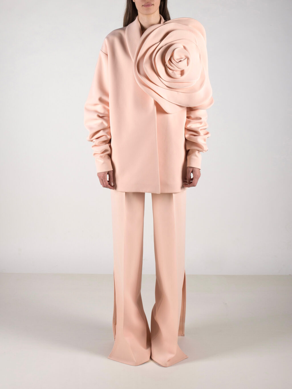 Oversized Jacket With Flower Detail In Peach