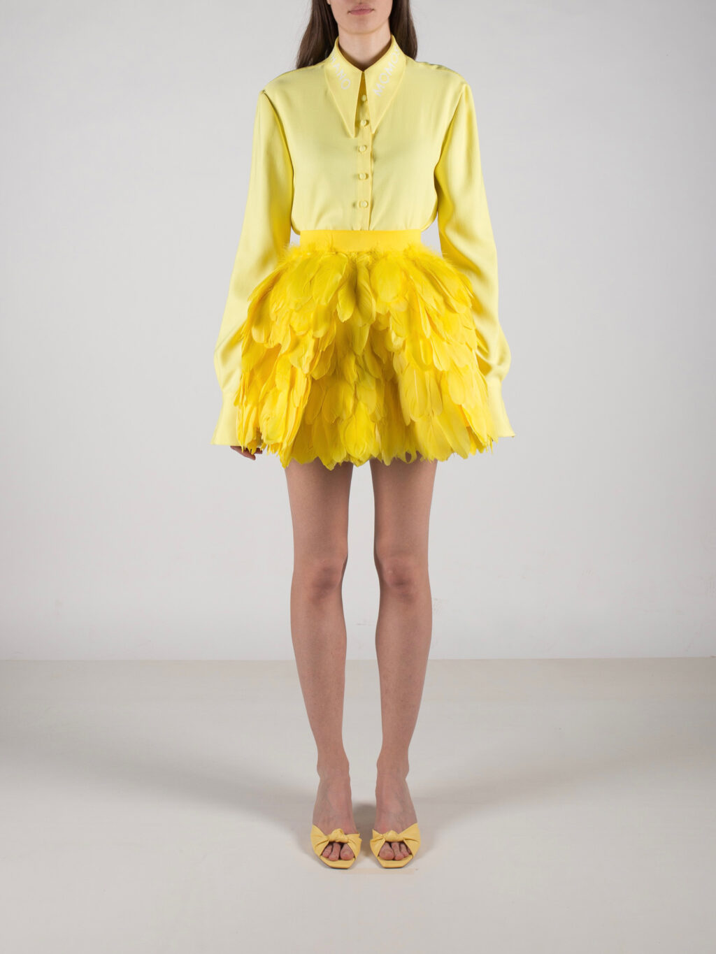 Bright Yellow Full Circle Feathered Mini Skirt